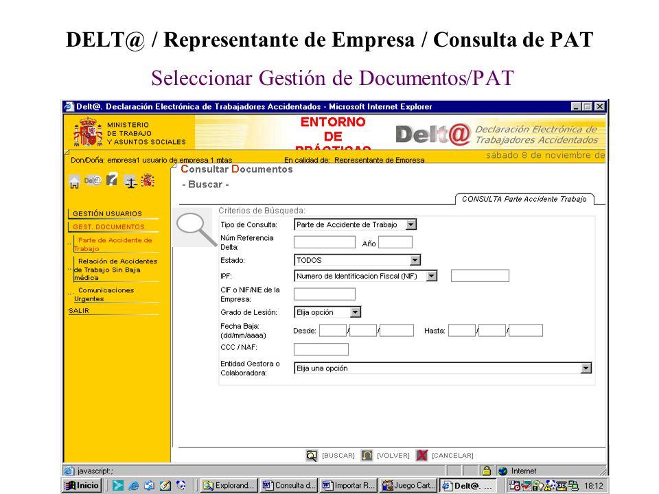 DELT@ / Representante de Empresa / Consulta de PAT Seleccionar Gestión de Documentos/PAT
