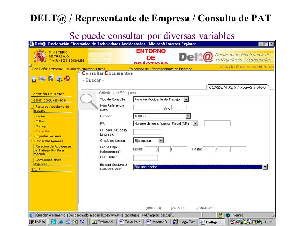 DELT@ / Representante de Empresa / Consulta de PAT Se puede consultar por diversas variables