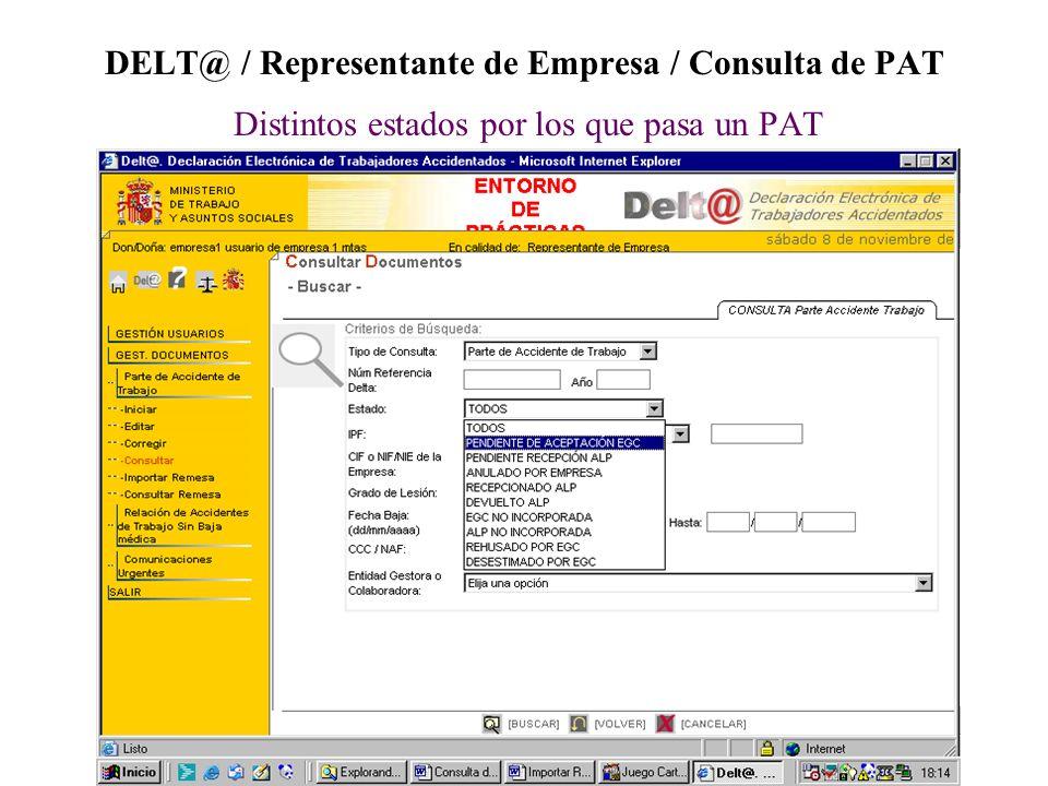 DELT@ / Representante de Empresa / Consulta de PAT Distintos estados por los que pasa un PAT