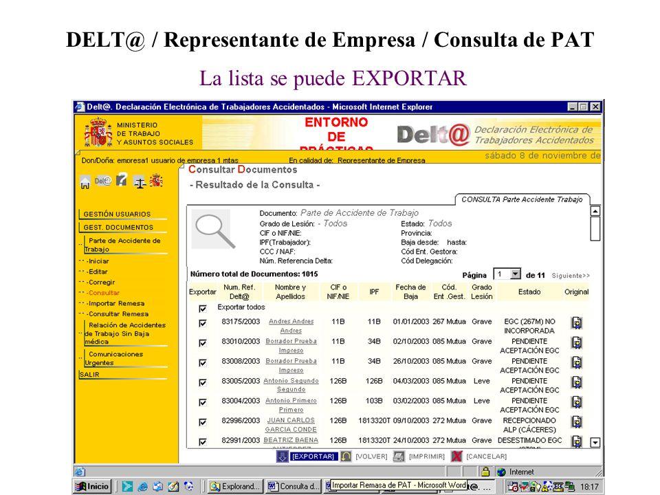 DELT@ / Representante de Empresa / Consulta de PAT La lista se puede EXPORTAR