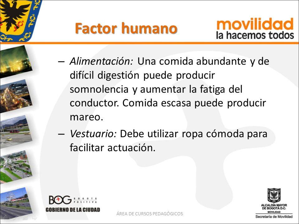 Factor humano – Alimentación: Una comida abundante y de difícil digestión puede producir somnolencia y aumentar la fatiga del conductor. Comida escasa