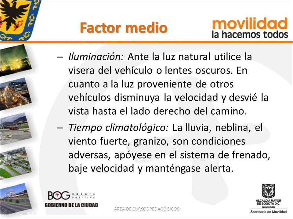 Factor medio – Iluminación: Ante la luz natural utilice la visera del vehículo o lentes oscuros. En cuanto a la luz proveniente de otros vehículos dis