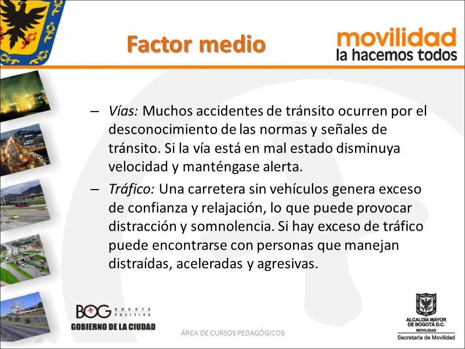Factor medio – Vías: Muchos accidentes de tránsito ocurren por el desconocimiento de las normas y señales de tránsito. Si la vía está en mal estado di