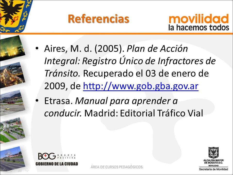Referencias Aires, M. d. (2005). Plan de Acción Integral: Registro Único de Infractores de Tránsito. Recuperado el 03 de enero de 2009, de http://www.