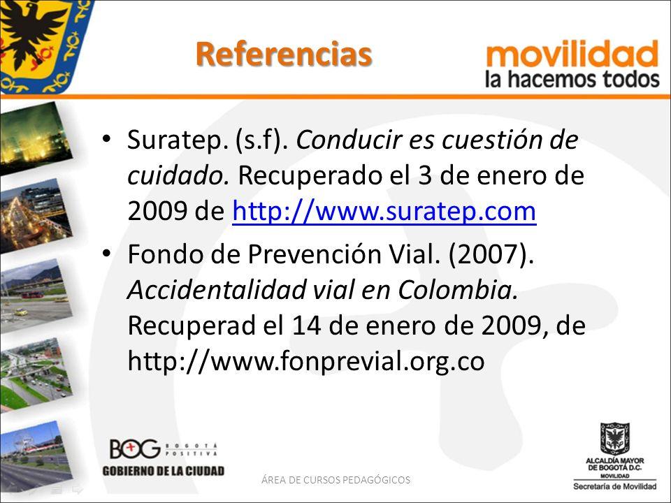Referencias Suratep. (s.f). Conducir es cuestión de cuidado. Recuperado el 3 de enero de 2009 de http://www.suratep.comhttp://www.suratep.com Fondo de