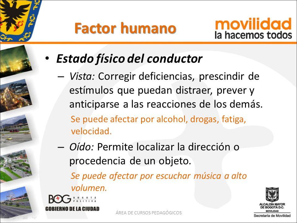Factor humano Estado físico del conductor – Vista: Corregir deficiencias, prescindir de estímulos que puedan distraer, prever y anticiparse a las reac