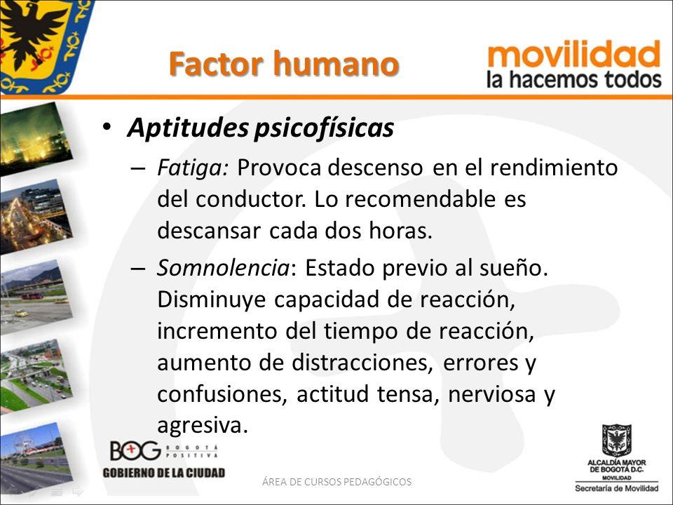 Factor humano Aptitudes psicofísicas – Fatiga: Provoca descenso en el rendimiento del conductor. Lo recomendable es descansar cada dos horas. – Somnol