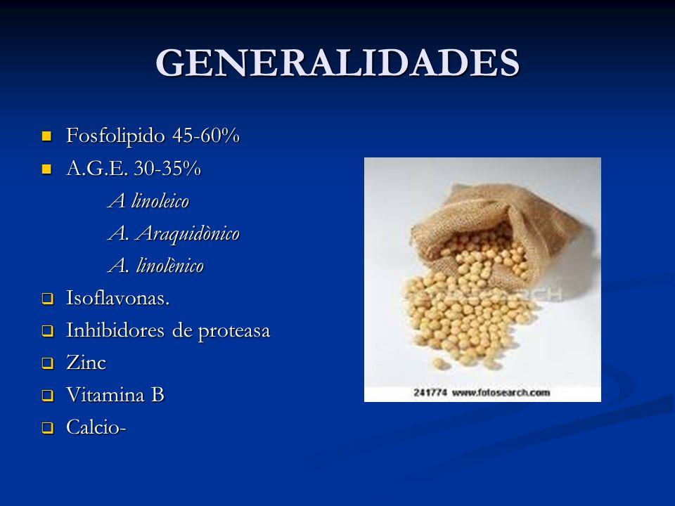 GENERALIDADES Fosfolipido 45-60% Fosfolipido 45-60% A.G.E. 30-35% A.G.E. 30-35% A linoleico A linoleico A. Araquidònico A. Araquidònico A. linolènico