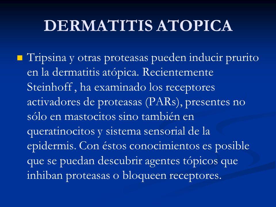 DERMATITIS ATOPICA Tripsina y otras proteasas pueden inducir prurito en la dermatitis atópica. Recientemente Steinhoff, ha examinado los receptores ac