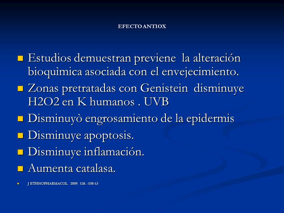 EFECTO ANTIOX Estudios demuestran previene la alteración bioquìmica asociada con el envejecimiento. Estudios demuestran previene la alteración bioquìm