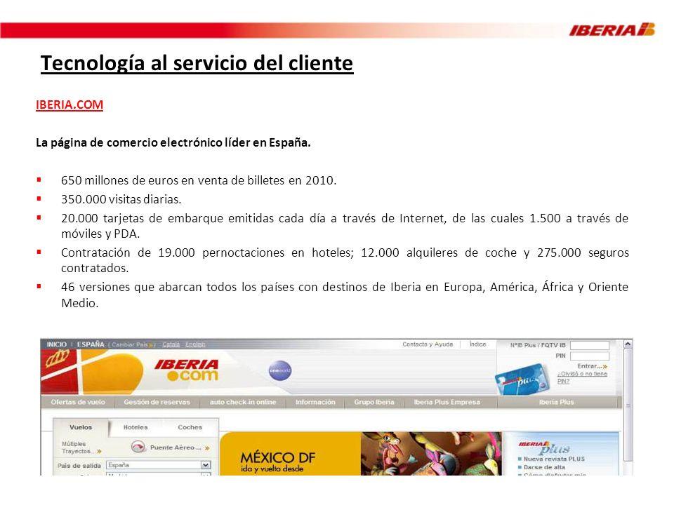 Tecnología al servicio del cliente IBERIA.COM La página de comercio electrónico líder en España. 650 millones de euros en venta de billetes en 2010. 3