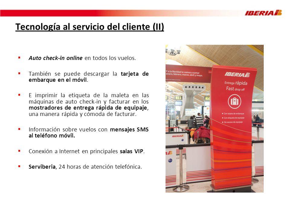 Tecnología al servicio del cliente (II) Auto check-in online en todos los vuelos. También se puede descargar la tarjeta de embarque en el móvil. E imp