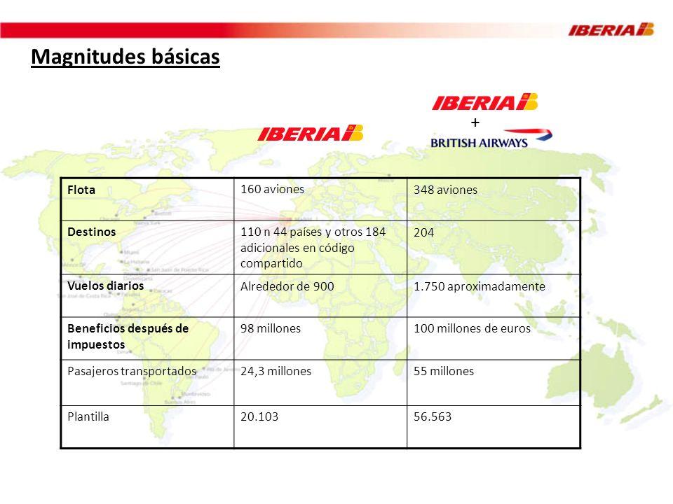 Magnitudes básicas Flota160 aviones348 aviones Destinos110 n 44 países y otros 184 adicionales en código compartido 204 Vuelos diariosAlrededor de 900