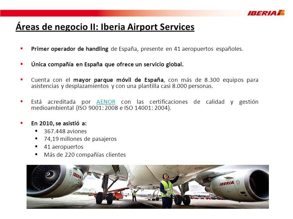 Áreas de negocio II: Iberia Airport Services Primer operador de handling de España, presente en 41 aeropuertos españoles. Única compañía en España que