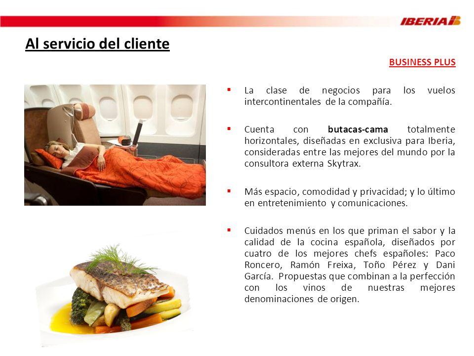 Al servicio del cliente BUSINESS PLUS La clase de negocios para los vuelos intercontinentales de la compañía. Cuenta con butacas-cama totalmente horiz