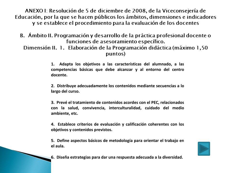 ANEXO I: Resolución de 5 de diciembre de 2008, de la Viceconsejería de Educación, por la que se hacen públicos los ámbitos, dimensiones e indicadores