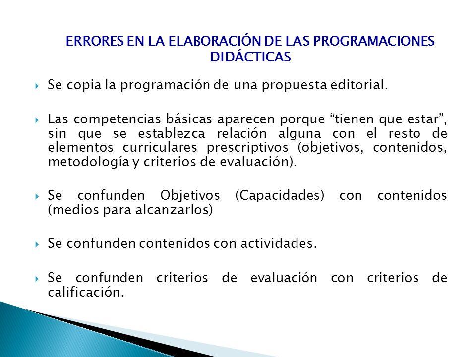 Se copia la programación de una propuesta editorial. Las competencias básicas aparecen porque tienen que estar, sin que se establezca relación alguna