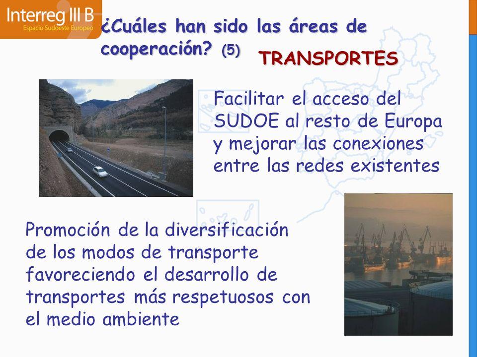 TRANSPORTES Facilitar el acceso del SUDOE al resto de Europa y mejorar las conexiones entre las redes existentes Promoción de la diversificación de lo
