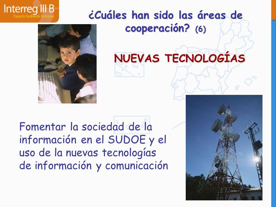 NUEVAS TECNOLOGÍAS Fomentar la sociedad de la información en el SUDOE y el uso de la nuevas tecnologías de información y comunicación ¿Cuáles han sido