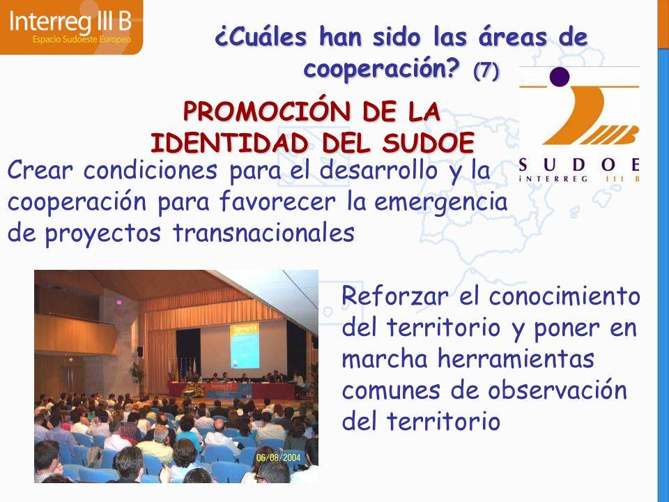 PROMOCIÓN DE LA IDENTIDAD DEL SUDOE Crear condiciones para el desarrollo y la cooperación para favorecer la emergencia de proyectos transnacionales Re