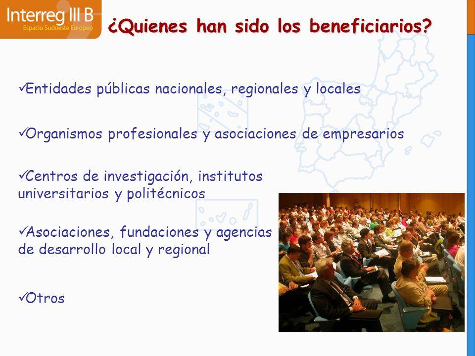 ¿Quienes han sido los beneficiarios? Entidades públicas nacionales, regionales y locales Organismos profesionales y asociaciones de empresarios Centro