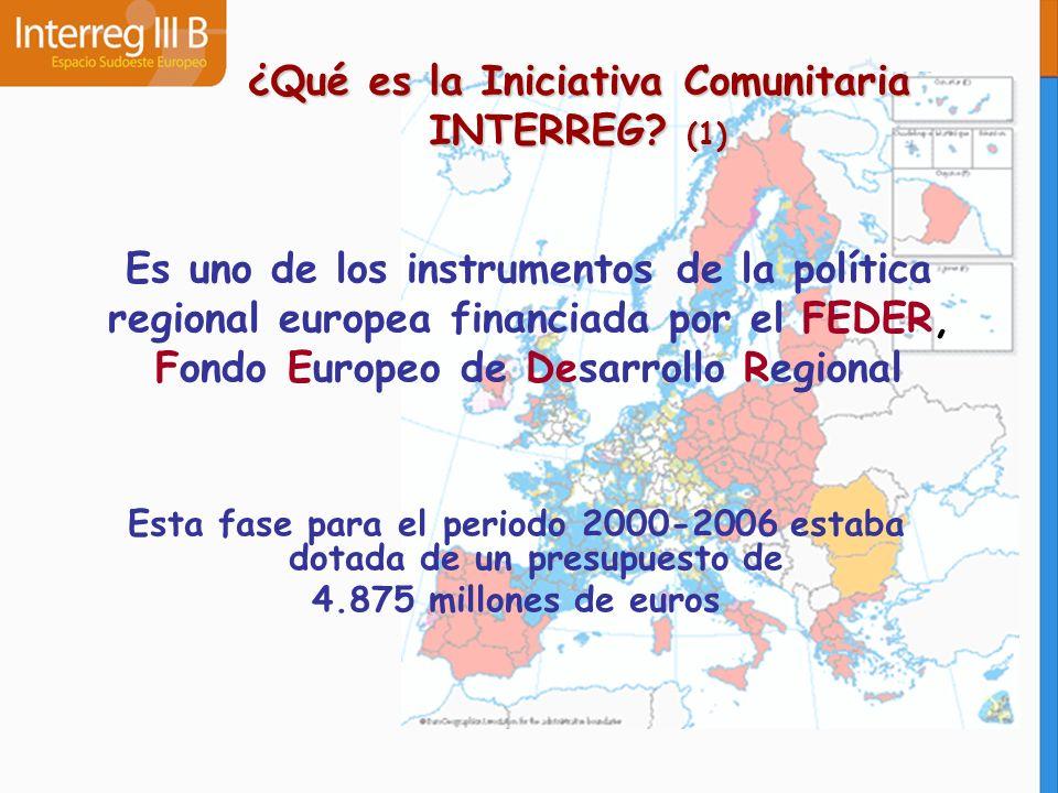 ¿Qué es la Iniciativa Comunitaria INTERREG? (1) Es uno de los instrumentos de la política regional europea financiada por el FEDER, Fondo Europeo de D