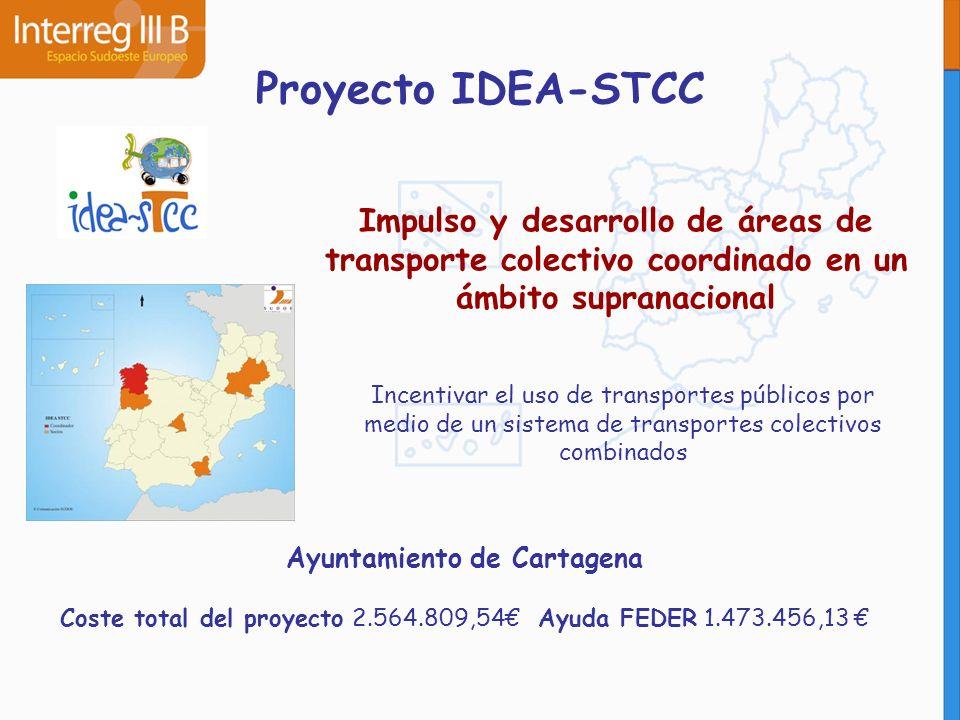 Proyecto IDEA-STCC Impulso y desarrollo de áreas de transporte colectivo coordinado en un ámbito supranacional Incentivar el uso de transportes públic
