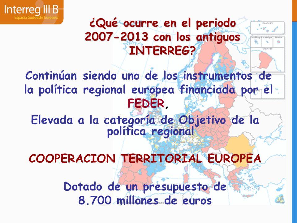 ¿Qué ocurre en el periodo 2007-2013 con los antiguos INTERREG? Continúan siendo uno de los instrumentos de la política regional europea financiada por