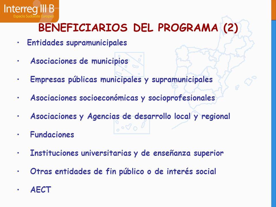 BENEFICIARIOS DEL PROGRAMA (2) Entidades supramunicipales Asociaciones de municipios Empresas públicas municipales y supramunicipales Asociaciones soc