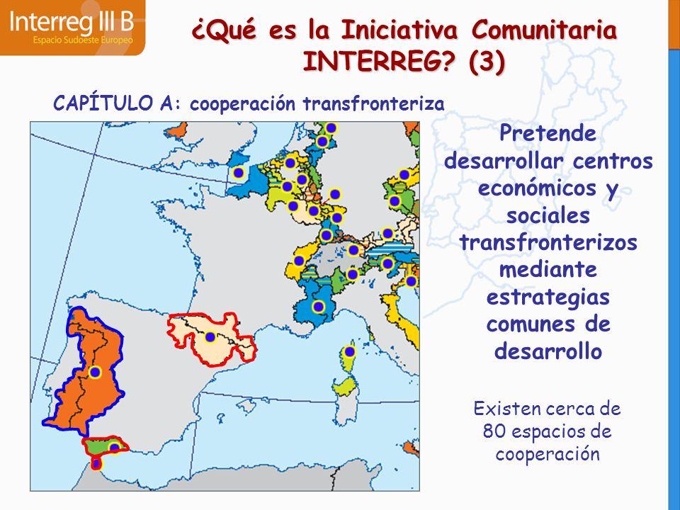 CAPÍTULO B: cooperación transnacional Promover una mayor integración territorial en la Unión gracias a la formación de grandes grupos de regiones europeas ¿Qué es la Iniciativa Comunitaria INTERREG.