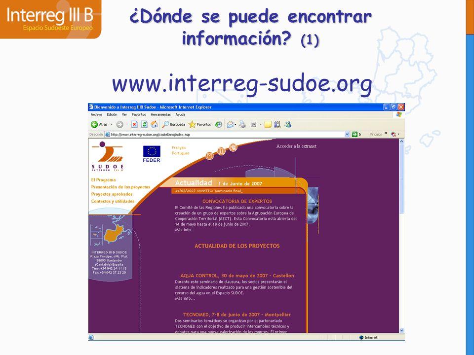 ¿Dónde se puede encontrar información? (1) www.interreg-sudoe.org