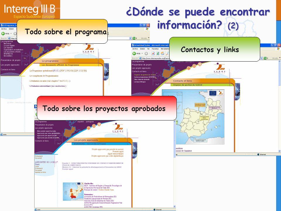 Todo sobre el programaContactos y linksTodo sobre los proyectos aprobados ¿Dónde se puede encontrar información? (2)
