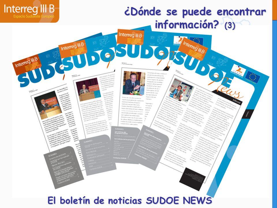 ¿Dónde se puede encontrar información? (3) El boletín de noticias SUDOE NEWS