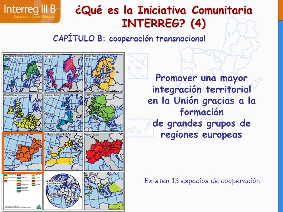 CAPÍTULO C: cooperación interregional Pretende mejorar la eficacia de las políticas y de los instrumentos de desarrollo regional mediante un amplio intercambio de información y la participación mutua de experiencias ¿Qué es la Iniciativa Comunitaria INTERREG.