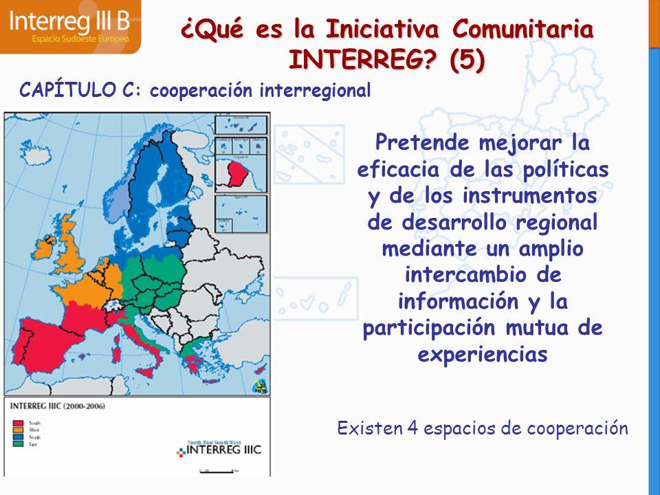 CAPÍTULO C: cooperación interregional Pretende mejorar la eficacia de las políticas y de los instrumentos de desarrollo regional mediante un amplio in
