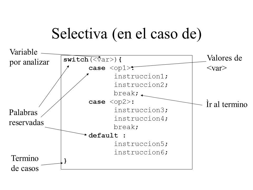 Selectiva (en el caso de) switch( ){ case : instruccion1; instruccion2; break; case : instruccion3; instruccion4; break; default : instruccion5; instr