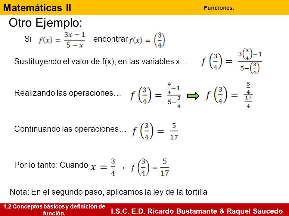 Matemáticas II Funciones. I.S.C. E.D. Ricardo Bustamante & Raquel Saucedo Otro Ejemplo: Si, encontrar Sustituyendo el valor de f(x), en las variables