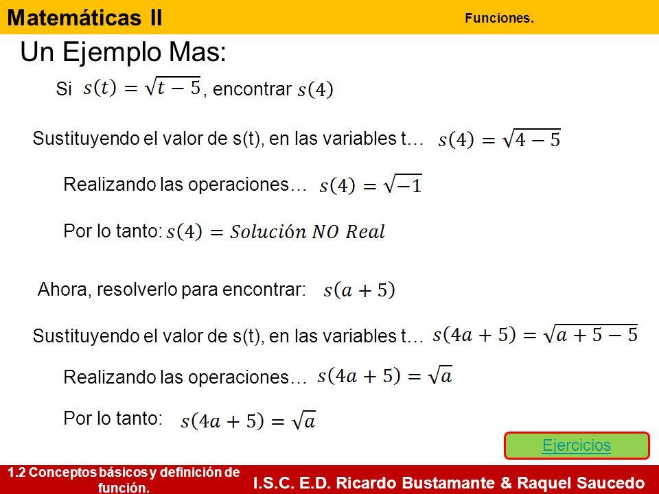 Matemáticas II Funciones. I.S.C. E.D. Ricardo Bustamante & Raquel Saucedo Un Ejemplo Mas: Si, encontrar Sustituyendo el valor de s(t), en las variable