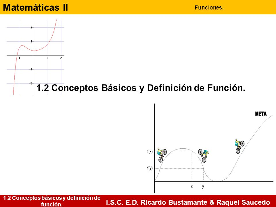 Matemáticas II Funciones. I.S.C. E.D. Ricardo Bustamante & Raquel Saucedo 1.2 Conceptos básicos y definición de función. 1.2 Conceptos Básicos y Defin