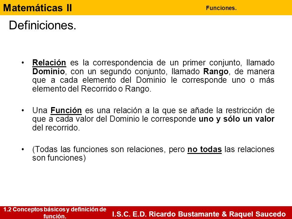 Matemáticas II Funciones. I.S.C. E.D. Ricardo Bustamante & Raquel Saucedo Definiciones. 1.2 Conceptos básicos y definición de función. Relación es la
