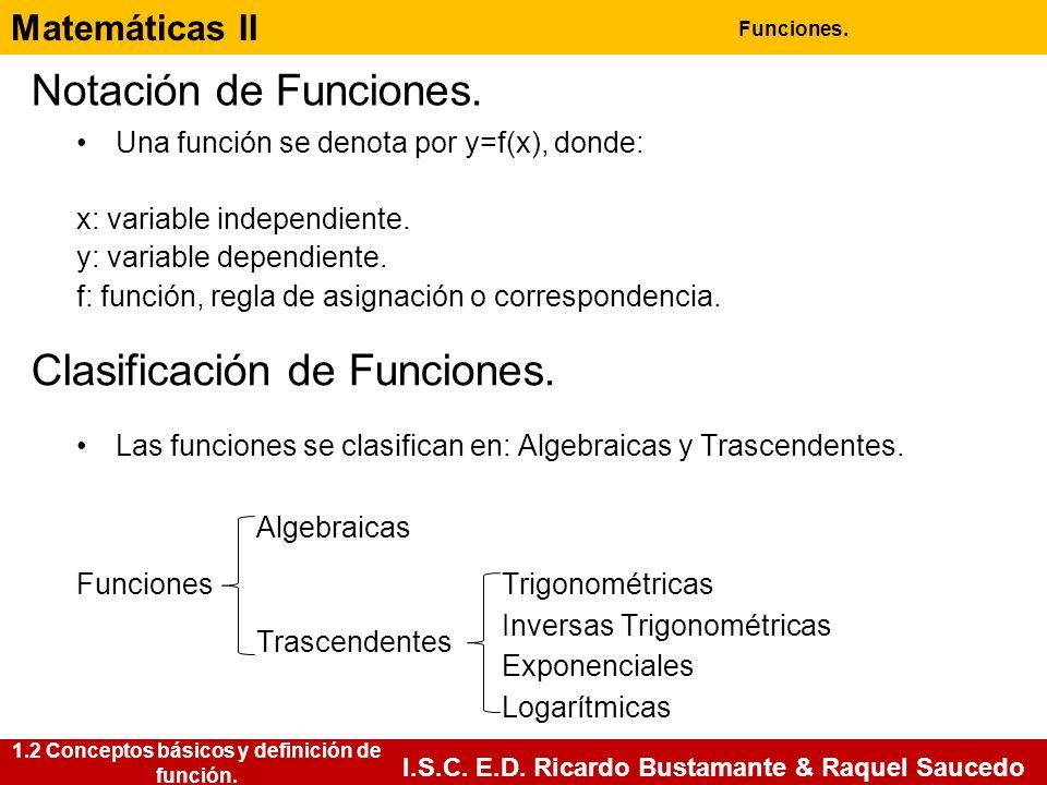 Matemáticas II Funciones. I.S.C. E.D. Ricardo Bustamante & Raquel Saucedo 1.2 Conceptos básicos y definición de función. Notación de Funciones. Una fu