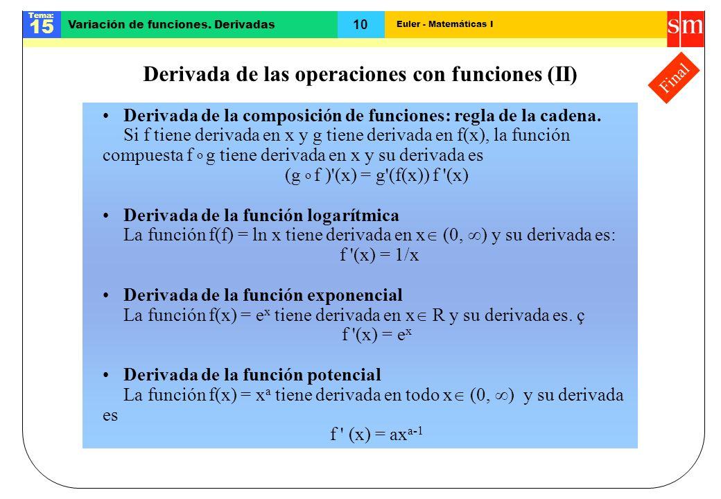 Euler - Matemáticas I Tema: 15 10 Variación de funciones. Derivadas Final Derivada de las operaciones con funciones (II) Derivada de la composición de