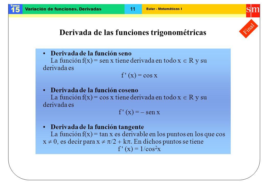 Euler - Matemáticas I Tema: 15 11 Variación de funciones. Derivadas Final Derivada de las funciones trigonométricas Derivada de la función seno La fun