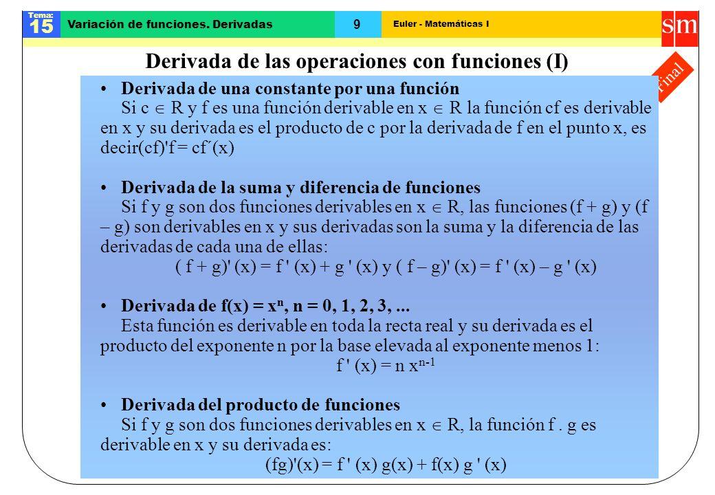 Euler - Matemáticas I Tema: 15 9 Variación de funciones. Derivadas Final Derivada de las operaciones con funciones (I) Derivada de una constante por u