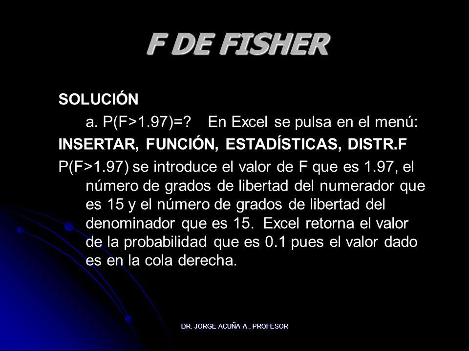 DR. JORGE ACUÑA A., PROFESOR F DE FISHER SOLUCIÓN a. P(F>1.97)=? En Excel se pulsa en el menú: INSERTAR, FUNCIÓN, ESTADÍSTICAS, DISTR.F P(F>1.97) se i