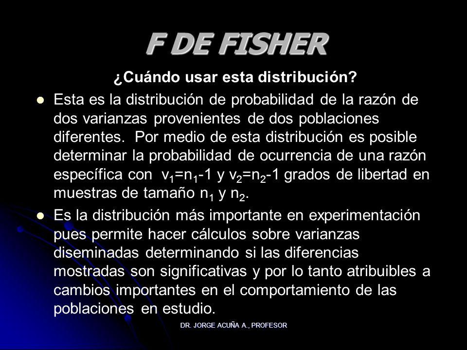 DR. JORGE ACUÑA A., PROFESOR F DE FISHER ¿Cuándo usar esta distribución? Esta es la distribución de probabilidad de la razón de dos varianzas provenie