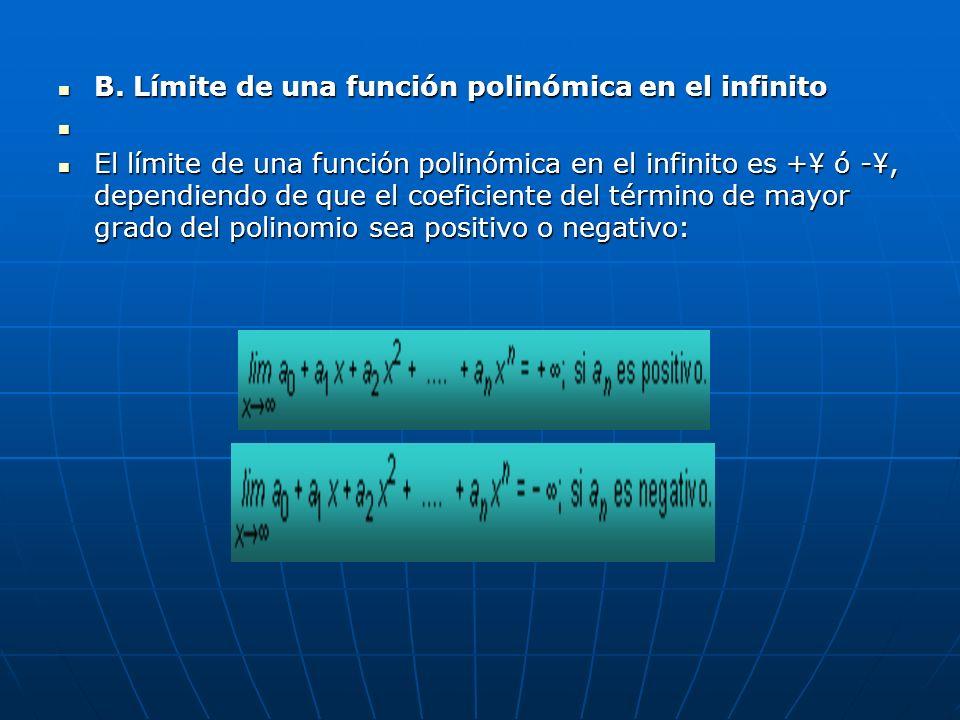 B. Límite de una función polinómica en el infinito B. Límite de una función polinómica en el infinito El límite de una función polinómica en el infini