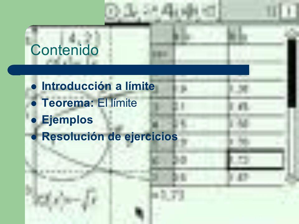 Contenido Introducción a límite Teorema: El límite Ejemplos Resolución de ejercicios