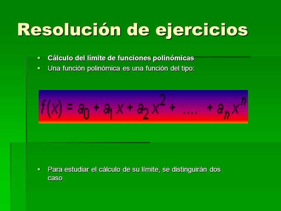 Resolución de ejercicios Cálculo del límite de funciones polinómicas Cálculo del límite de funciones polinómicas Una función polinómica es una función