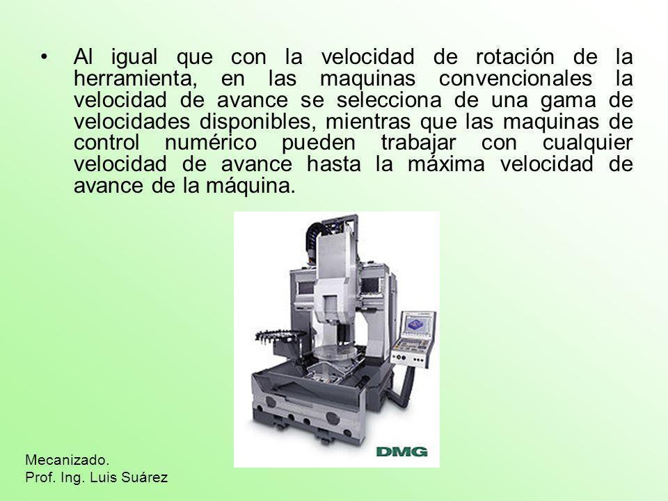 Al igual que con la velocidad de rotación de la herramienta, en las maquinas convencionales la velocidad de avance se selecciona de una gama de veloci